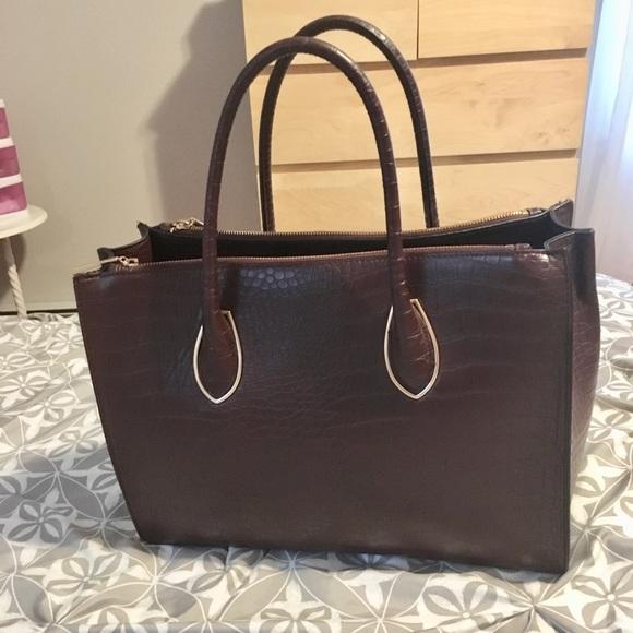 H M Bags   Hm Burgundy Faux Croco Large Tote Handbag   Poshmark 0d53c7d49e
